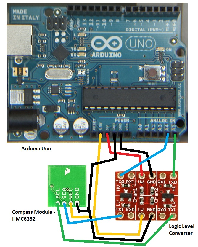 digital compass using i2c arduino and sparkfun compass module rh electronics trev id au arduino uno wiring arduino uno wiring shield